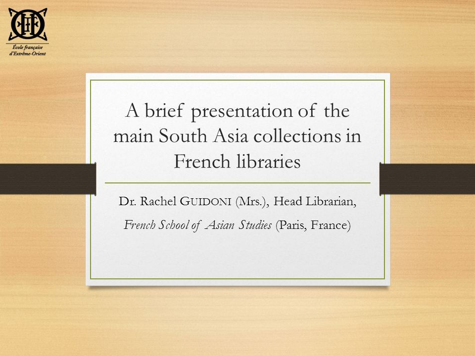 Dr. Rachel Guidoni (Mrs.), Head Librarian, - ppt download