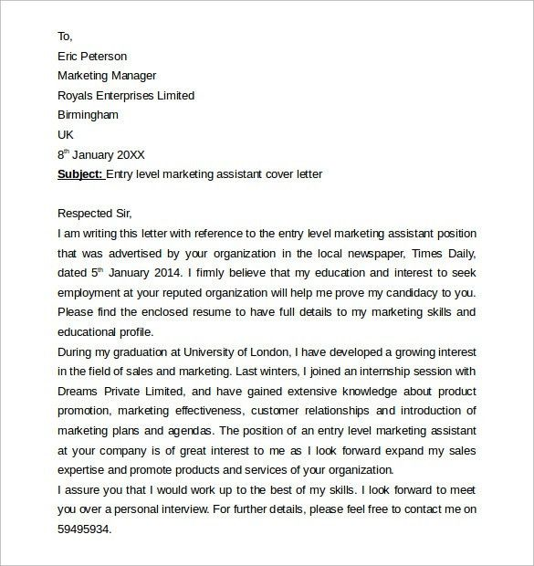 Sample Marketing Cover Letter Example - 11 + Download Free ...