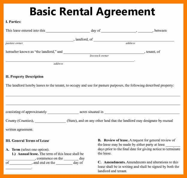 Editable Rental Agreement Template – Printable Editable Blank