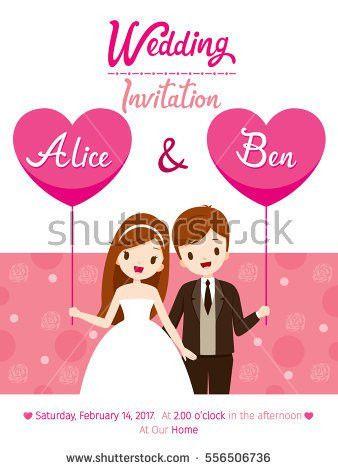 Wedding Invitation Card Template Bride Groom Stock Vector ...