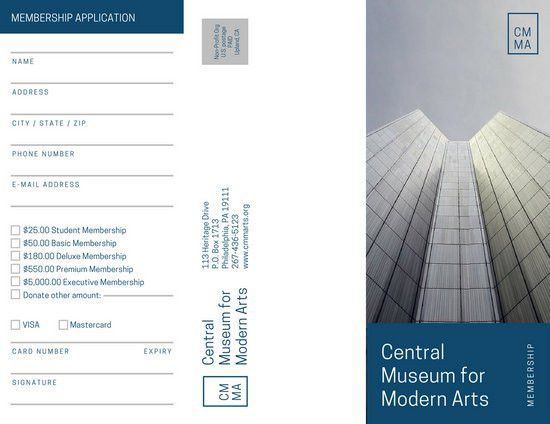 Museum Membership Form Brochure - Templates by Canva
