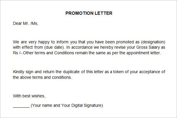 Promotion Letter Sample. Promotion Letter Template 30+ Appraisal .