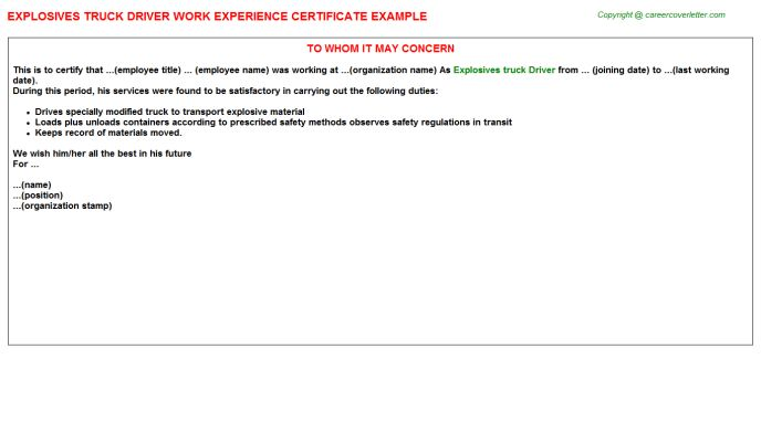 Explosives Truck Driver Work Experience Certificate