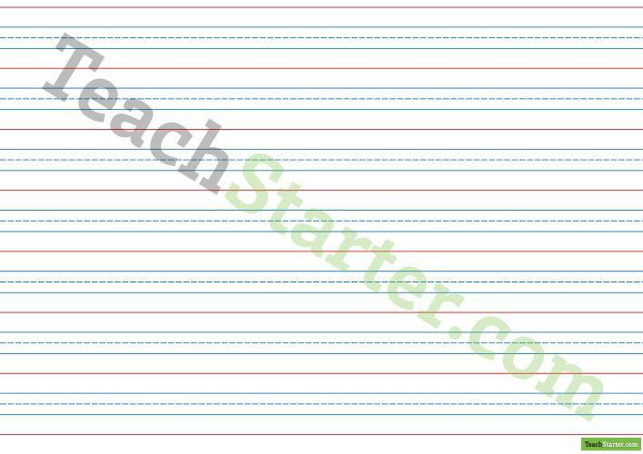 Handwriting Paper with Dotted Blue Line - Landscape