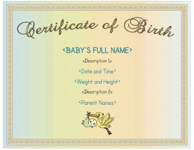 Printable birth certificate for boys with a blue color scheme ...