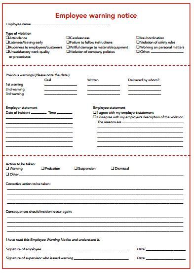 6 Employee Warning Notice Templates | Free Sample Templates