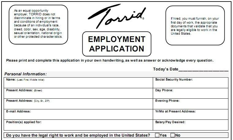 Printable Application. Printable Job Application Form Pdf ...