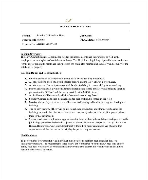 Security Officer Job Description. Security Guard Resume Example ...