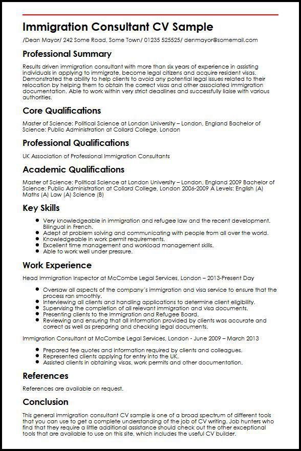 Immigration Consultant CV Sample | MyperfectCV