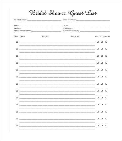 Guest List Template - 9+ Free Word, PDF, Excel Documents Download ...