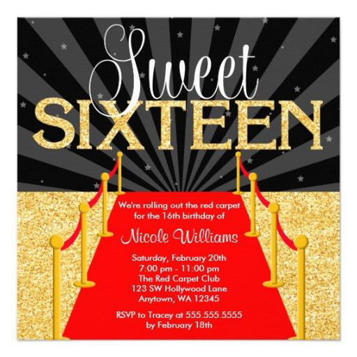 Personalized Red carpet party Invitations | CustomInvitations4U.com