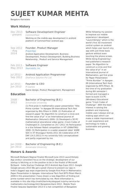 Software Development Engineer Resume samples - VisualCV resume ...