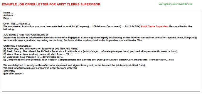 Audit Clerks Supervisor Offer Letter