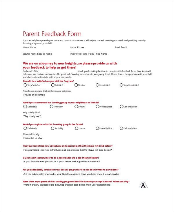Examples Of Feedback Forms [Template.billybullock.us ]