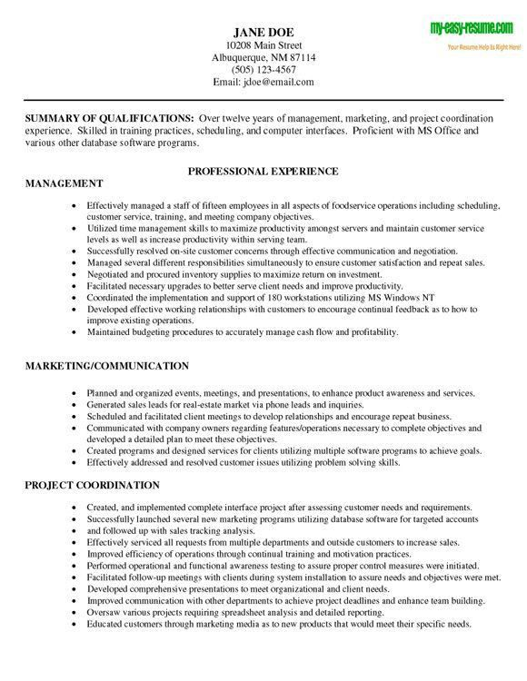 Sample Management Resume | berathen.Com