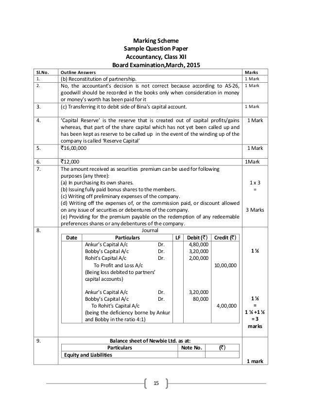 Sample paper final accountancy 2015