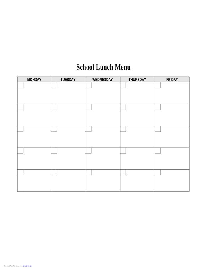School Lunch Menu Template Free Download