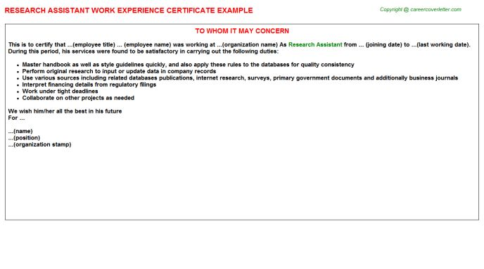 Research Assistant Work Experience Certificate