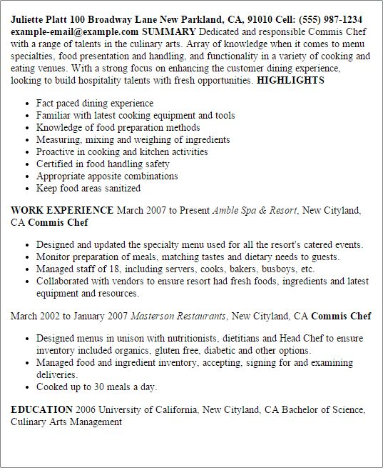 Professional Commis Chef Templates to Showcase Your Talent ...
