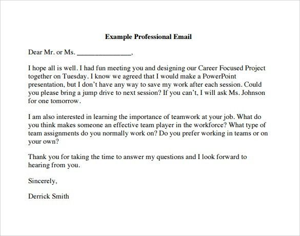 Sample Professional Email - 7+ Examples, Format