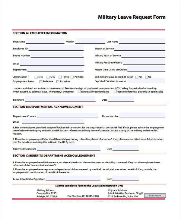 Leave of absence template leave of absence letter sample formal request form template yadclub Gallery