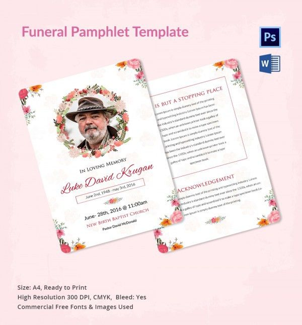 5 Funeral Pamphlet Templates - Word, PSD Format Download   Free ...