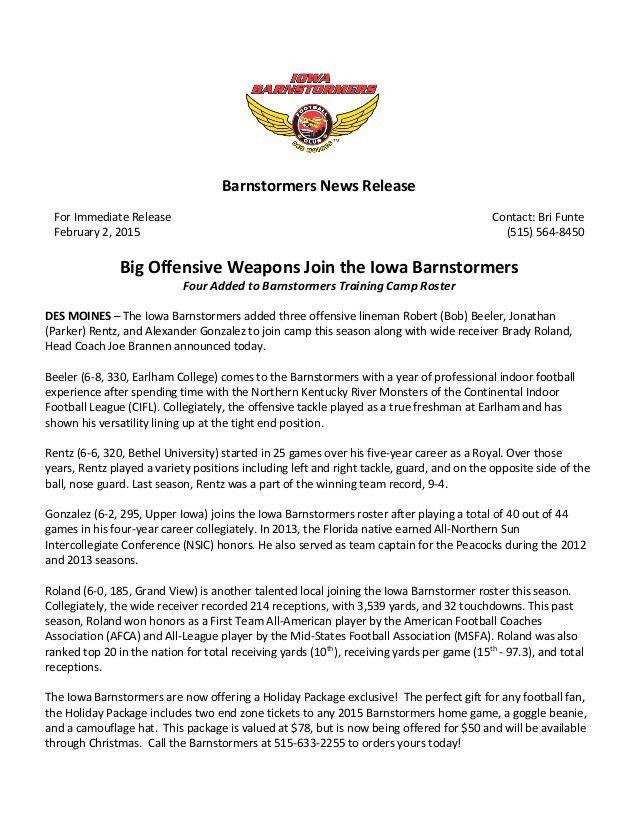 Barnstormers Press Release Example