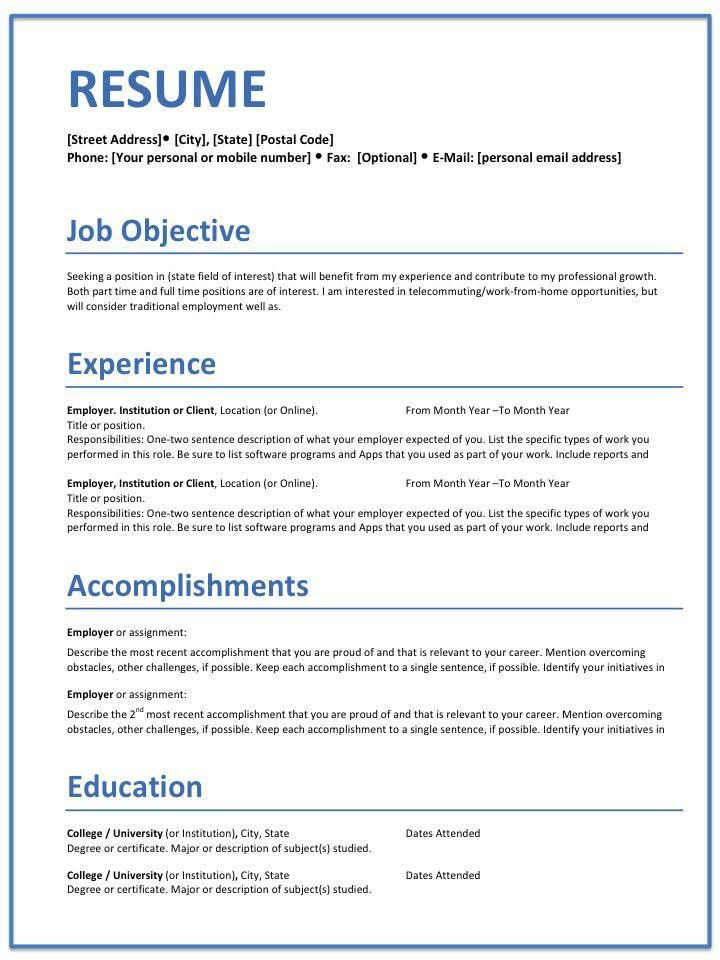 Resume Templates - Home Office Careers