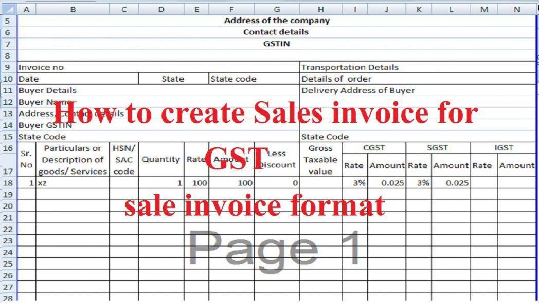General Sales Invoice Template Uniform Software Sale Excel ...