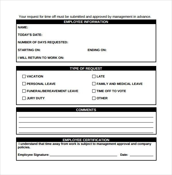Sample Time Off Request Form - 23+ Download Free Documents in PDF ...