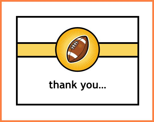 Thank You Card Template Word.Football Thank You Card Note Template ...