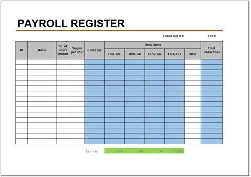 Free Payroll Register Template for Excel 2007 - 2016