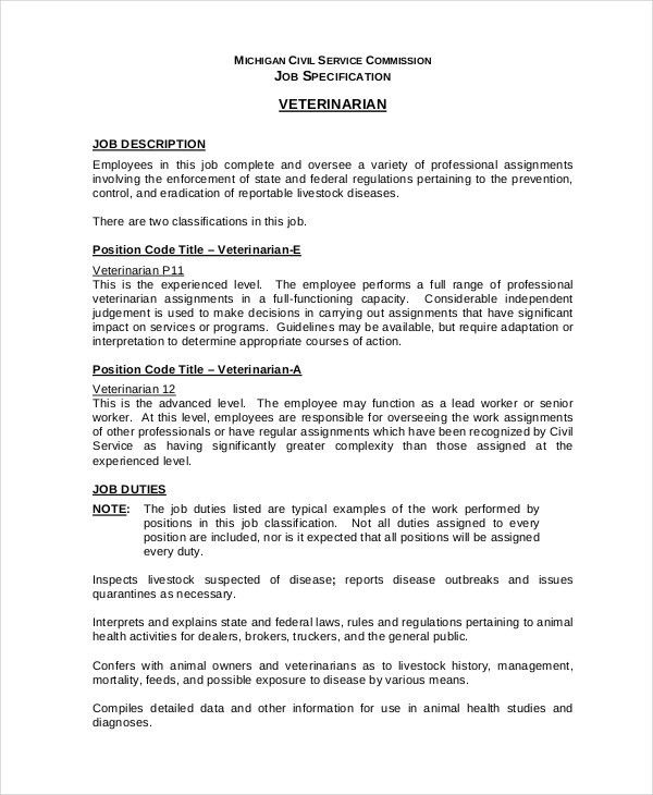 Veterinarian Job Description - 10+ Free Word, PDF Documents ...