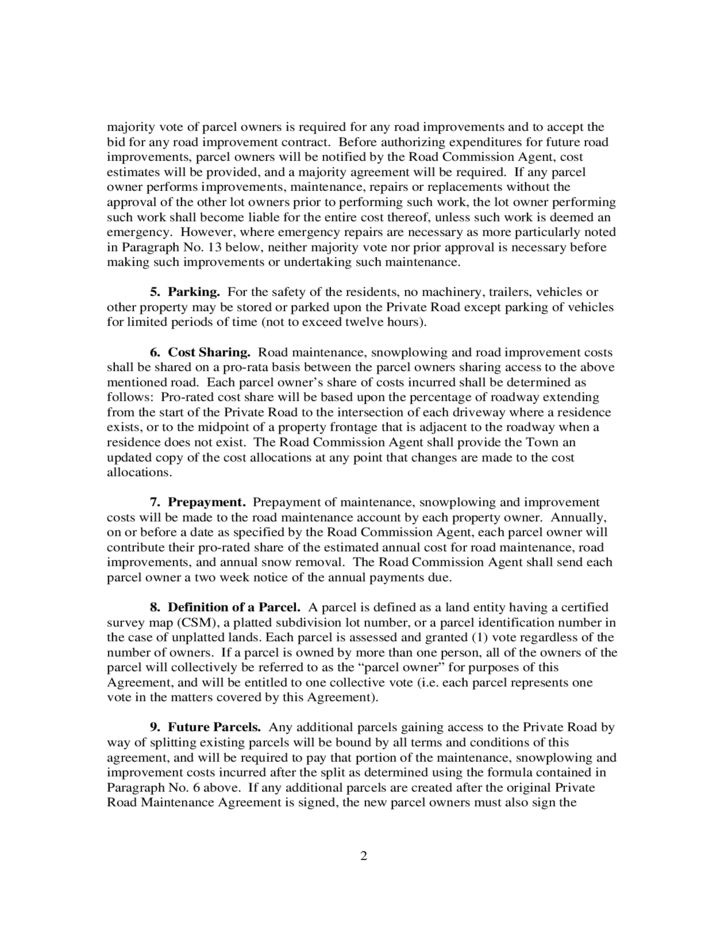 Private Road Maintenance Agreement - Wisconsin Free Download