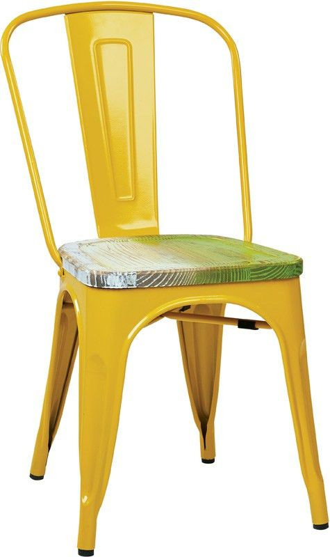 Designs Bristow Metal Chair with Wood Seat - 2-Pack - Yellow and ...
