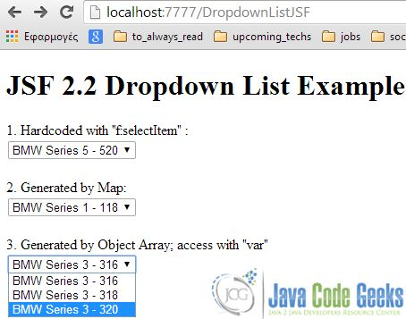 Dropdown List (selectOneMenu) Example with JSF 2.0