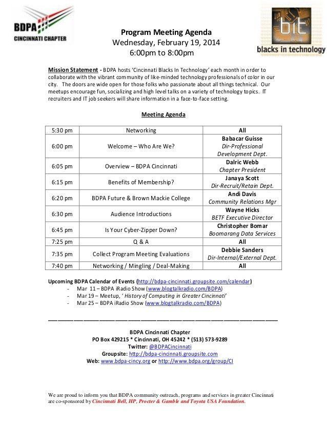Agenda: Program Meeting (Sample)