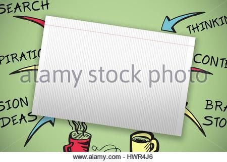 Single lined blank paper against green background Stock Photo ...