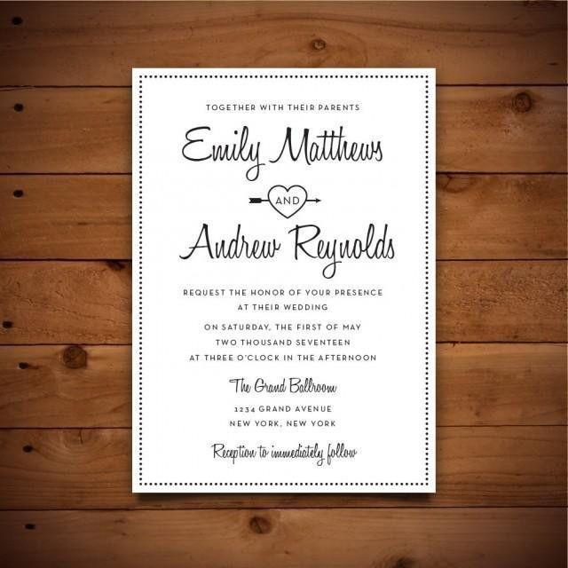 Printable Vintage Style Wedding Invitation Template - Dark Grey ...