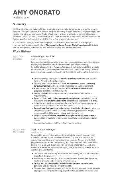 Recruiting Consultant Resume samples - VisualCV resume samples ...