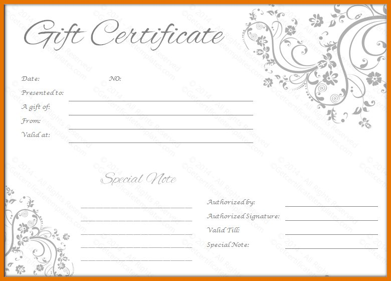 6+ free gift certificate templates | Itinerary Template Sample