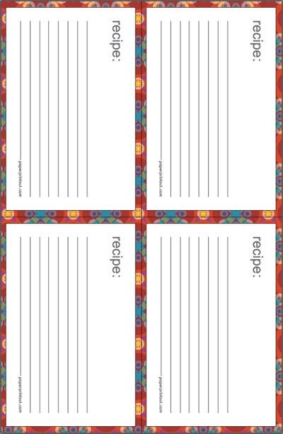 Recipe Cards - Download Free Printable Recipe Card Templates