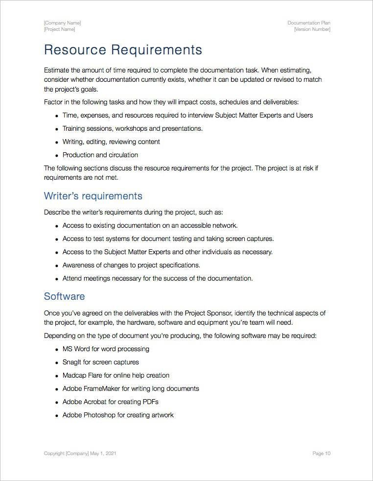 Documentation Plan Template (Apple iWork Pages - 17 pgs)