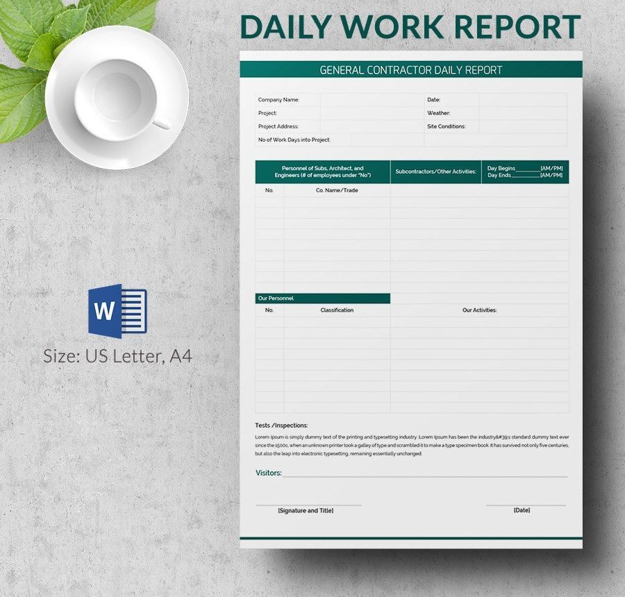Daily Work Report Format In Ms Word | April Calendar | April Calendar