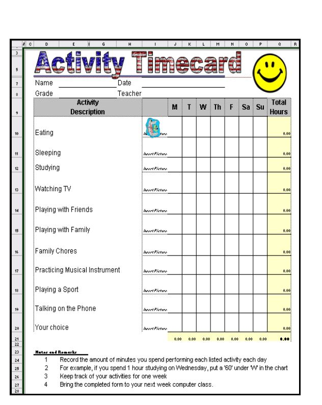 Excel Time Card Template | Time Card Template