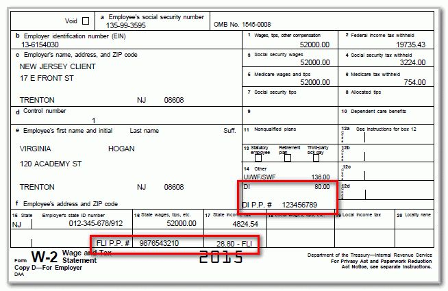 How to add New Jersey FLI and DI on Form W-2