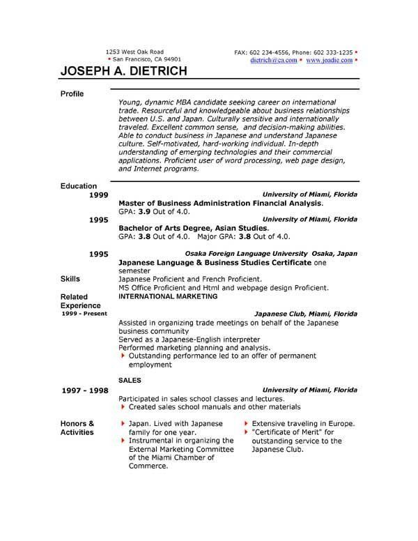 Ms Resume Templates] Resumes And Cover Letters Officecom, Ten ...