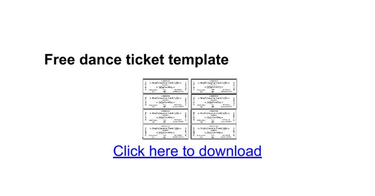 Free dance ticket template - Google Docs