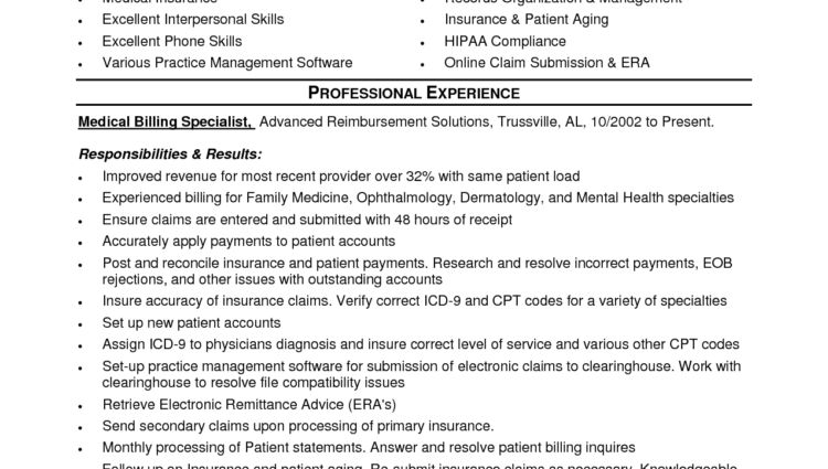 medical billing resume examples samples Resume for Insurance ...