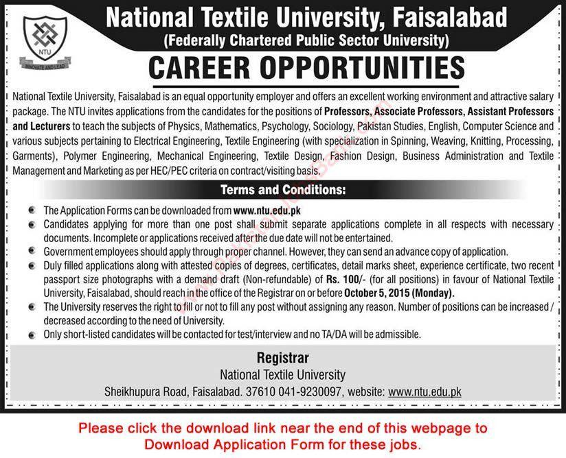 National Textile University Faisalabad Jobs 2015 September ...